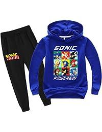 SUPFANS Kids Sonic The Hedgehog - Conjunto de sudadera con capucha y pantalones deportivos