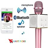 #6: Smart Picks Karaoke Mic Wireless, Portable Handheld Singing Machine Condenser Microphones Mic and Bluetooth Speaker Compatible with iPhone/iPad/iPod/and All Android Smartphones (Metallic Pink)