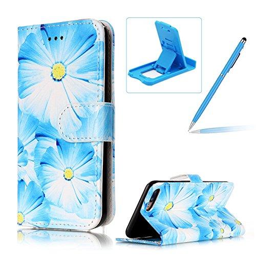 Coque pour iPhone 7 Plus, Book Style Premium PU Cuir Case Cover pour iPhone 7 Plus Dragonne Portefeuille Shell Swag Téléphone de Protection en Cuir Folio Housse, Herzzer 3D Étui à Rabat Fente de Carte Fleur Bleu