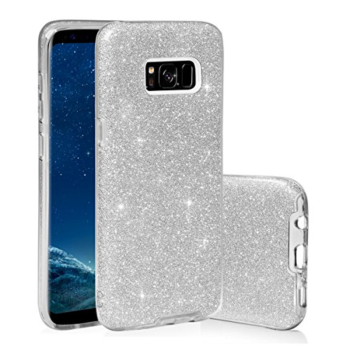 EGO ® Hülle Glitzer Schutzhülle für Samsung Galaxy S8 Plus G955, Pink Back Case Bumper Glänzend Transparente TPU Bling Weiche Glamour Handy Cover Lipgloss Silber
