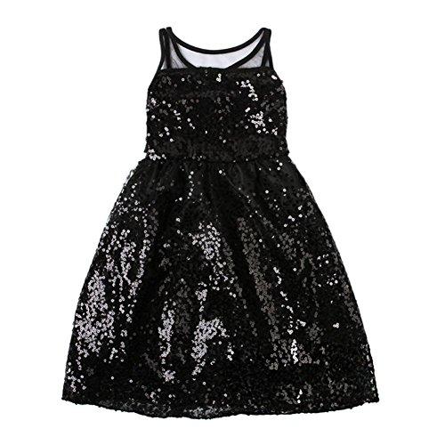 Longra Robe de Fille Veste d'Eté Robe Princesse Costume Enfant Paillette Sans Manches (5Y, Noir)