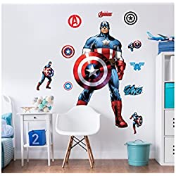 Walltastic Marvel Capitán América grande Character juego de adhesivos de pared (, multicolor