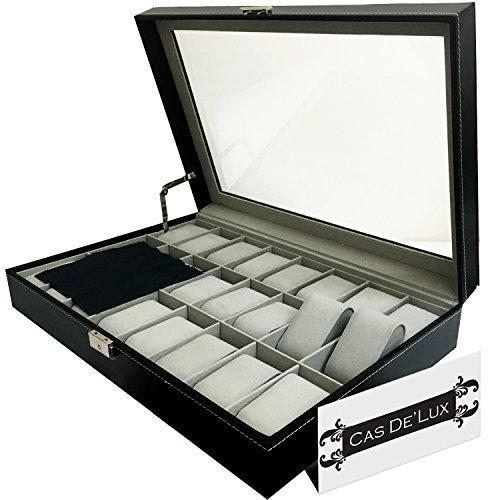 Reloj de Lujo Caja Almohada de Terciopelo 24Ranuras, Premium Vitrina con diseño Tapa de Cristal, Elegante Contraste Costuras, Resistente y Seguro Cerradura–por CAS de 'Lux
