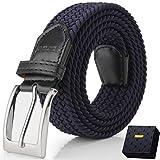 Fairwin Cintura Elastica Intrecciata per Uomo e Donna, Confortevole Cintura in Tessuto Elastico Stretch,per Jeans Pantaloni,Blu, per la Vita 100-110 cm