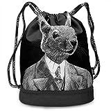 Rtytgfdw Multi-Functional Unisex Handsome Rabbit Drawstring Double Shoulder Bundle Bag