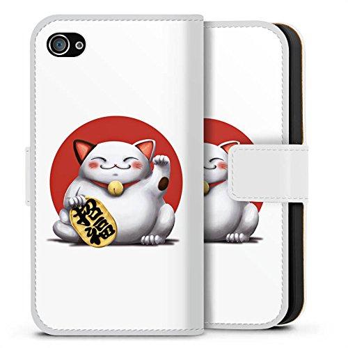 Apple iPhone X Silikon Hülle Case Schutzhülle Kawaii Katze Japan Sideflip Tasche weiß