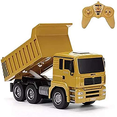 ffengg 1/18 camión teledirigido volquete 1:18 2.4ghz | coche rc radiocontrol con batería | juguetes construcción radio control para niños, amarillo