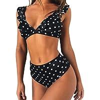 Longra Mujer Traje de Baño Sin Tirantes Estampado de Lunares Push Up Bañador Bikinis Beachwear Traje de Baño de Playa Natación