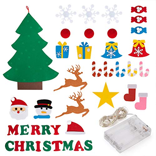 PITAYA Árbol de Navidad de Fieltro, Arbol de Navidad de Fieltro DIY con 26pcs Árbol de Navidad para niños Juguetes educativos Decoración de Pared, Merry Christmas Bandera de Fieltro