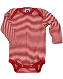 Cosilana Baby Body Wollbody®, Größe 74/80, Farbe geringelt Rot-Natur - Wollbody®GmbH
