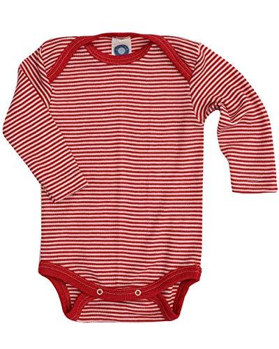 Cosilana Baby-Body, Wollbody, Größe 50/56, Farbe Rot geringelt, 70% Wolle und 30% Seide kbT