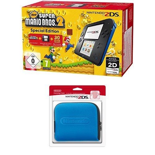 Pack Console Nintendo 2DS - noire & bleue + New Super Mario Bros. 2 + Pochette de transport bleue pour 2DS