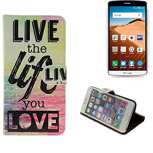 K-S-Trade Für TP-LINK Neffos C5 Max Schutz Hülle 360° Wallet Case ''live Life Love'' Schutzhülle Handy Tasche Handyhülle Etui Smartphone Flip Cover Standfunktion (1x)
