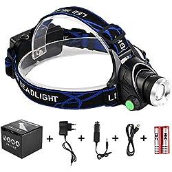 LED Linterna Frontal, Super Brillante Linternas frontales Zoomable Recargable 1800 Lúmenes 3 modos para Camping,Caza,Ciclismo,Trabajo,Pesca