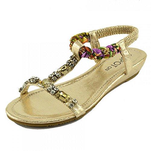 Kick Gold Flach Sandalen Footwear Modell Schuhe Flip nr urlaub Sommer 1 Strand Damen flop Gladiator rqrwCPf