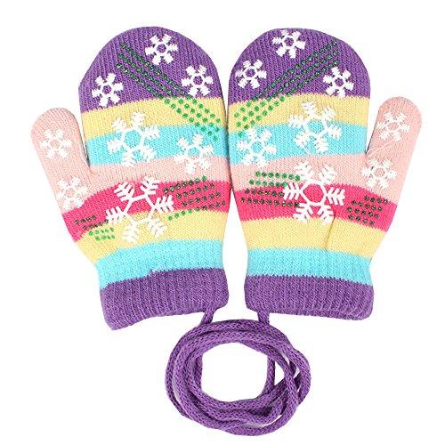 EROSPA® Baby Winter-Handschuhe Fäustlinge Fausthandschuh Fäustel Mädchen Jungen Schneeflocke 4 Farben (Lila) (Baby-fäustlinge Mit Bändern)