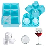 Lictin Ice Cube Tray, Spherical and Square Ice Cube Tray With Soft Silicone 4&6 Small Cubes Perfect for Freezing Whisky, Juice,Sauce, Yogurt Treats, Iced Coffee etc(Blue)