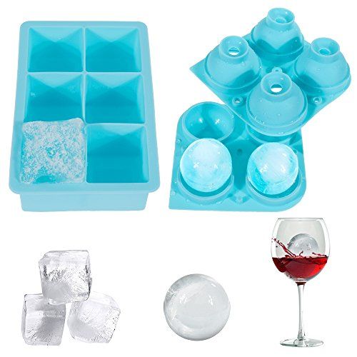 Lictin Ice Cube Tray, Spherical and Square Ice Cube Tray with Soft Silicone 4&6 Small Cubes Perfect for Freezing Whisky, Juice,Sauce, Yogurt Treats, Iced Coffee etc.