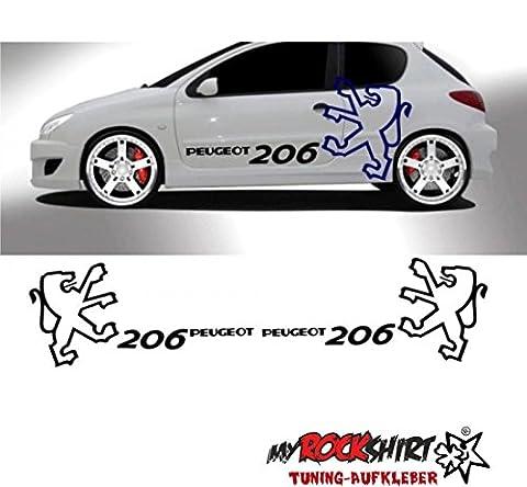 Peugeot 206 Seitenstreifen Aufkleber Seite Viper StreifenL Set Aufkleber Tuning