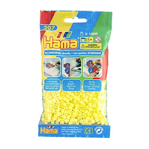 Hama - 207-43 - Loisirs Créatifs  - Perles et Bijoux  - Sachet 1000 Perles Jaune Pastel 0028178207434