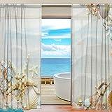 2PC jstel Strand mit Seestern und Muscheln Muster Print Tüll Polyester Tür Voile Fenster Vorhang Sheer Vorhang Panels für Schlafzimmer Wohnzimmer Fall Zwei scheibenelementen Set 139,7x 198,1cm
