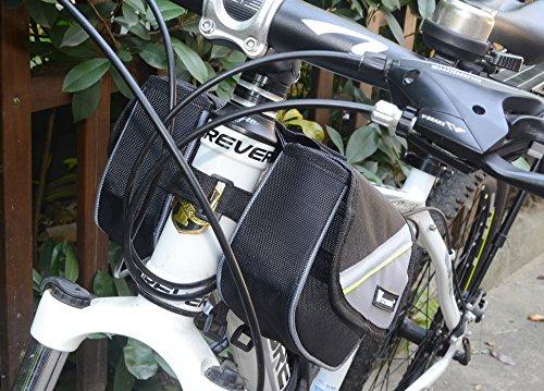 West Radfahren Fahrrad Rahmen Gepäckträger Front Tube Handy Tasche für Handy Tasche 14cm Gurt Storage Pack grau - grau