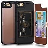 TORU CX Pro Funda iPhone 8 Carcasa Cartera Rosa con Tarjetero Oculto y Espejo para Apple iPhone 8 / iPhone 7 - Oro Rosa