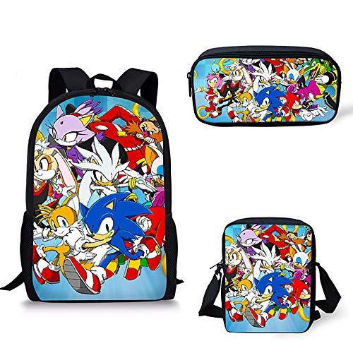 Kinder Schulrucksäcke Igel Sonic Drucken 16 inch Tagesrucksack mit Umhängetasche und Bleistiftbeutel für 6-16 Jahre alt Mädchen Jungs,B