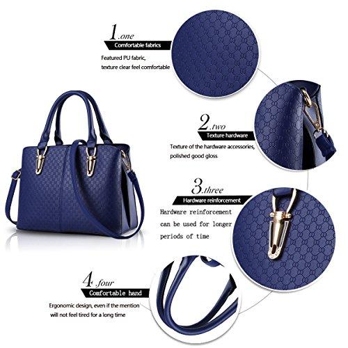 Tisdain Borsa a tracolla borsa in pelle goffrata borsa qualità Ms. borsa raccoglitore dell'unità di elaborazione Messenger bag big bag zaffiro