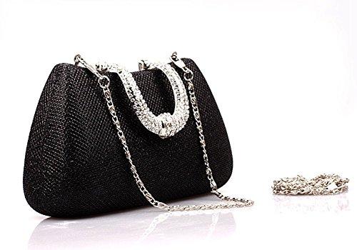 ERGEOB® Donna Clutch Clutch sacchetto di sera frizione per matrimonio Party Festa teatro nero