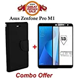 Faadu Engineer ® Asus ZenFone Max Pro M1 Flip Cover Case Combo Offer Mercury Magnetic Lock Diary Wallet Style Flip Cover Case (Black) + 5D 9H Hardness Tempered Glass Screen Protector (Black)