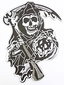 SONS OF anarchy Biker Outlaw Reaper Iron On Chopper Motorcycle Club Patch Iron on Sew Applique Embroidered Emblem Ecusson brode patche Patches