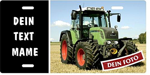 Traktor-Schild mit eigenem Tractor-Foto, Wunschtext, Blechschild Metallschild Stallschild Türschild Schlepper Trecker für innen und außen, 305x152mm