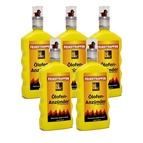 Preisvergleich Produktbild 5x Ölofen-Anzünder TILL á 200ml = 1 Liter Ölofenanzünder Feuertropfen FLÜSSIG !