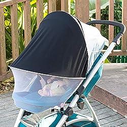 ASEOK Housse de soleil pour poussette de bébé, auvent de poussette, pare-soleil noir et housse occultante, pare-soleil, protection contre les UV été, parapluie imperméable et coupe-vent (Blanc)