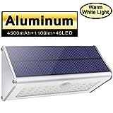 Licwhi Lampe Solaire Exterieur Puissante 46LED Alliage D'aluminium,Projecteur LED Exterieur Avec Détecteur de Mouvement pour Jardin, Lumière Blanche Chaude...