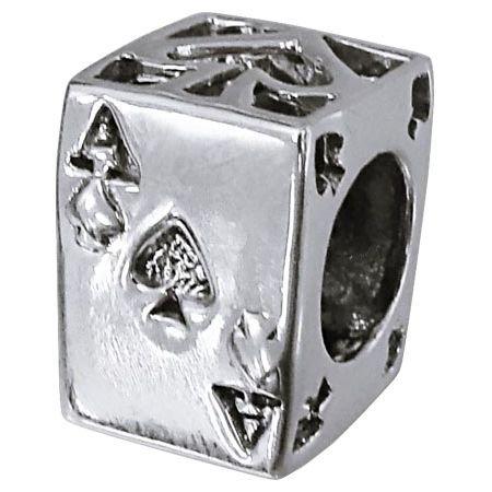 So Chic Gioielli - Charm Dadi Motivi Carte da Gioco Argento Sterling 925 - Compatible con Pandora, Trollbeads, Chamilia, Biagi