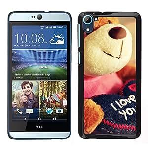 Stuss Case / Coque Étui Housse de protection - Cute Teddy Bear Plush Toy Love You I - HTC Desire D826