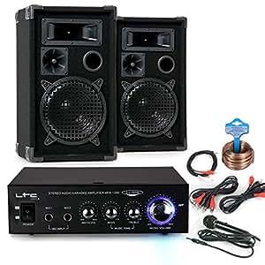 Chaîne hi-fi party PA baffles karaoké amplificateur microphone haut-parleurs