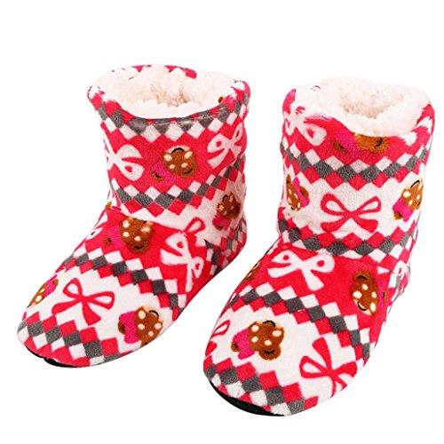SHOBDW Weihnachtsgeschenk Plüsch Bodenschuhe Damen Baumwolle Warme Hausschuhe Weiche Plüsch Weihnachtssocken (Freie Größe (35-40), Rot)