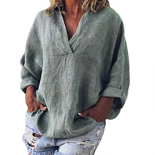 Zilosconcy Damenmode Plus Size Solide Casual Leinen V-Ausschnitt Bluse T-Shirt Damen großes, einfarbiges Baumwoll-Leinen-Pullover mit V-Ausschnitt und Langen Ärmeln - Strapless Lace Cami