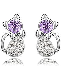 VANKER 1 par pendientes gato encantadora del diamante cristalino para el oído de los pernos prisioneros color