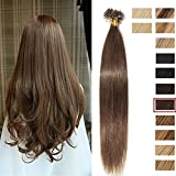 [0.5g * 100 Mèches] Extensions de Cheveux Naturels Keratine (16'=40cm, 50g) Sans Shedding/Tangle/Noeud [ 04#Marron Chocolat ]