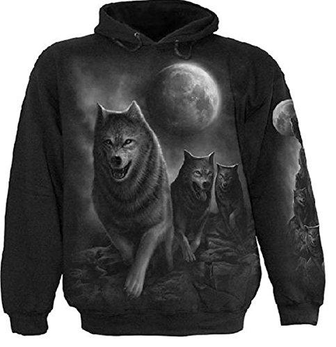 Dark Dreams Gothic Western Spiral Hoodie Sweatshirt Pullover Kapuze Wolf Pack Wrap Vollmond Wölfe Wolfsrudel M L XL XXL, Größe:XXL (Wrap Pullover Kapuzen)