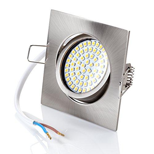 sweet-led Set 6 x flache Einbaustrahler LED dimmbar, 230V, 5W, Schwenkbar, Eckig, Chrom gebürstet, flach , Warmweiß