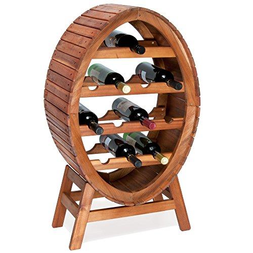Weinregal für 12 Flaschen aus Holz im stilvollem Design Weinständer Weinfass Flaschenregal Fass Flaschenständer