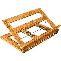 Relaxdays 10014658 - Soporte para libros de cocina de bambú, ángulo ajustable
