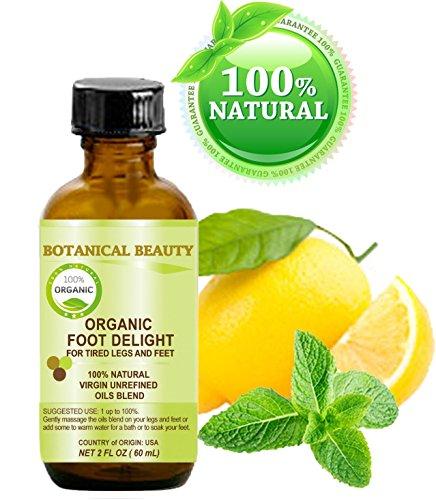 PLAISIR DE PIED BIO pour les jambes et les pieds fatigués. 100% naturel / vierge mélange non raffinée d'huiles certifiées biologiques - 60 ml. (citron, menthe poivrée, romarin, tournesol, soja, graines de perilla).