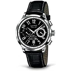 Men Eberhard 31954cplimitededition Breaker Steel quandrante Black Watch Leather Strap