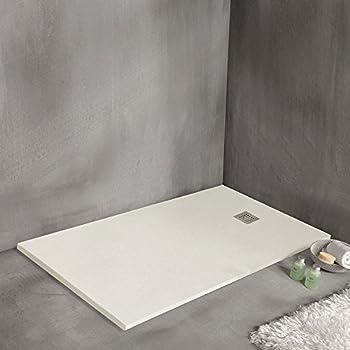 sanycces receveur de douche en r sine min rale extra plat strato blanc 100 x 140 cm. Black Bedroom Furniture Sets. Home Design Ideas